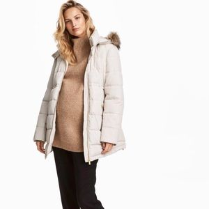 H&M MAMA Maternity Padded Jacket in Light Beige